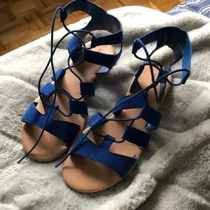 Lace up blue gladiator sandals